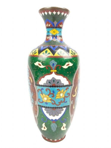 Antique Cloisonne Chinese Vase - Dragon / Early 20th Century / Oriental / Green
